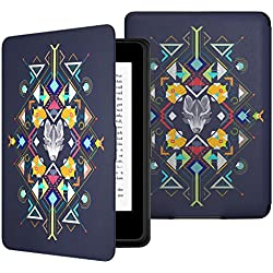 MoKo Case for Kindle Paperwhite, Premium Thinnest and Lightest PU Leather Cover with Auto Wake / Sleep for Amazon All-New Kindle Paperwhite (Fits 2012, 2013, 2015 and 2016 Versions), Wolf Totem