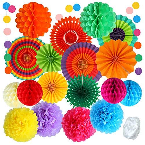 Aneco 20 Pieces Hanging Paper Fans Colorful Paper Pom Poms Flower Honeycomb Balls Rainbow Party Decorations for Birthdays Festivals Carnivals Graduation -