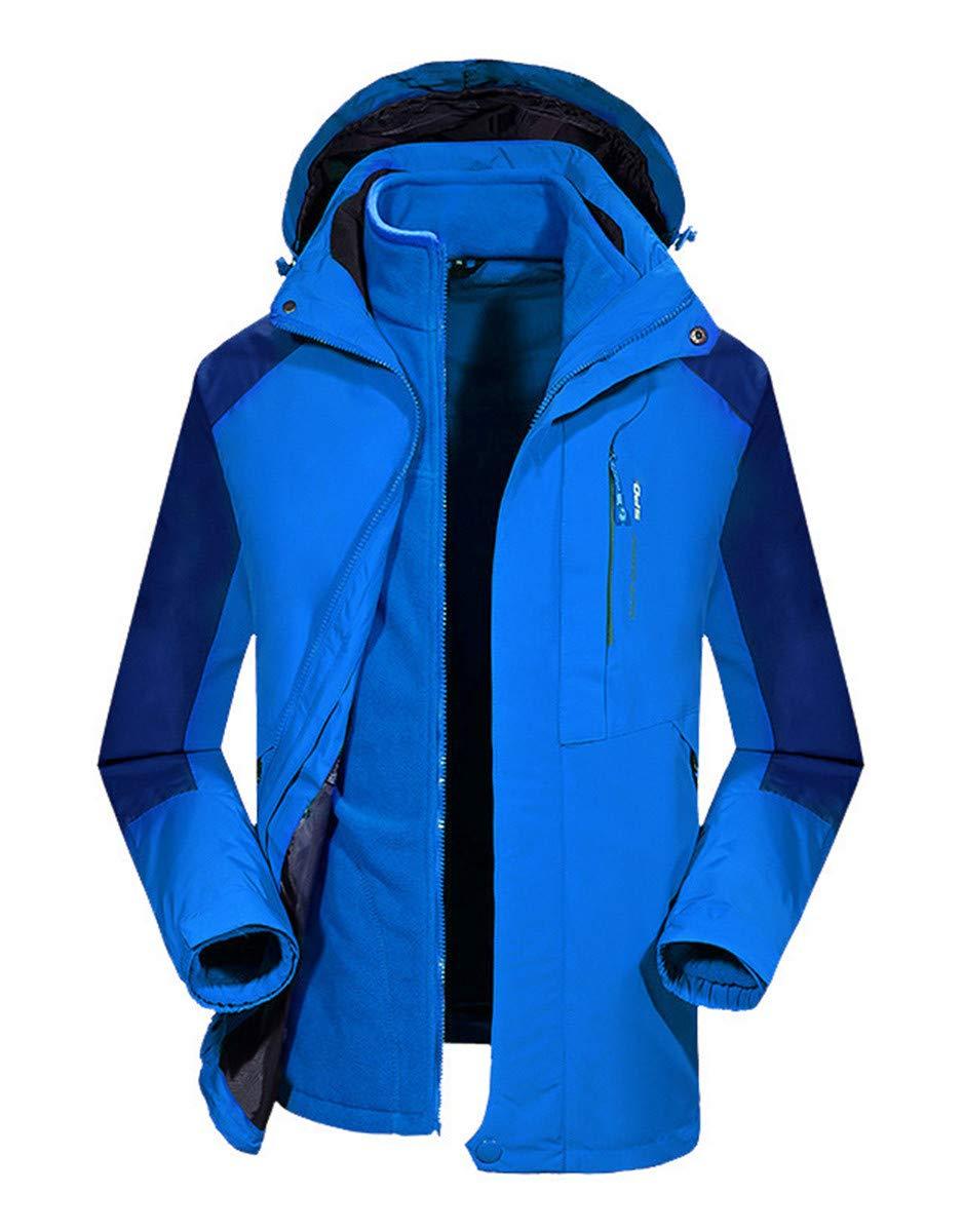 CWXDIAN Jacke Outdoor Jacke DREI-in-one abnehmbare Fleece Zweiteilige XL Jacke, hellblau, M