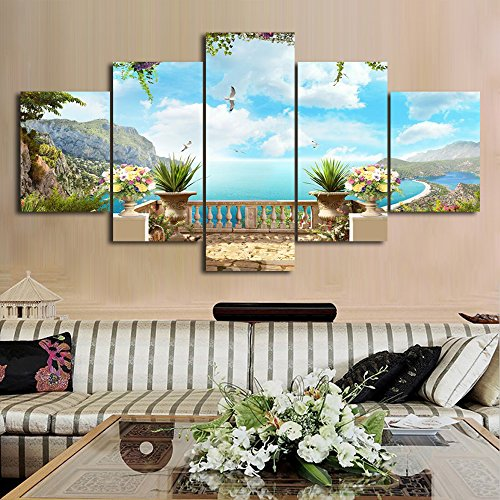 "European Landscape Ocean Painting 5 Piece Modern Wall Art Canvas Print Pictures for Home Decoration Living Room Bedroom Posters and Prints Gallery-wrapped Framed Stretched Ready to Hang, 60""W x 32""H"