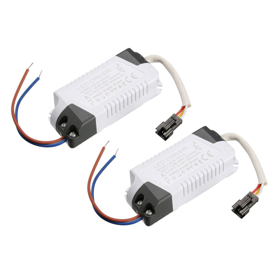 uxcell LED Driver 8-12W Constant Current 300mA High Power AC 85-265V Output 24-46V External Power Supply LED Ceiling Lamp Rectifier Transformer 2Pcs