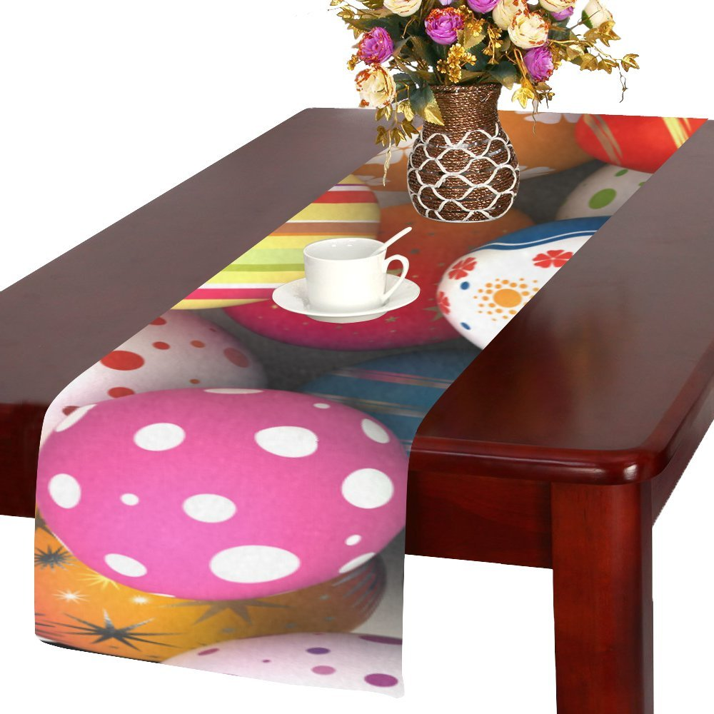 Artsadd Happyイースターカラフルな卵キッチンダイニングテーブルランナー14 x 72インチforディナーパーティー、イベント、装飾   B06XD2GKPW