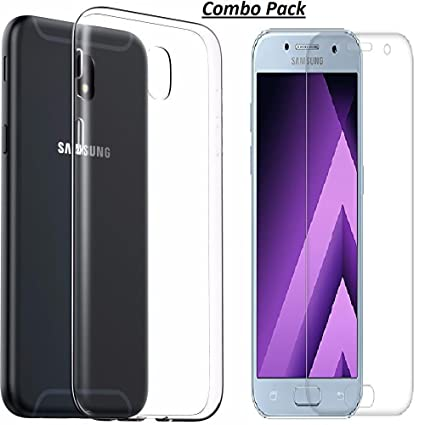 buy popular 85464 1fefb Samsung Crystal Clear Soft Transparent Back Cover + Tempered Glass Combo  for Samsung Galaxy J7 Pro