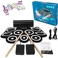 Bateria Electronica Niños Drum Kit , lujoso juego de batería, 9 almohadillas eléctricas portátiles, kit de práctica de instrumentos de batería, altavoz integrado con sonido de platillo de choque