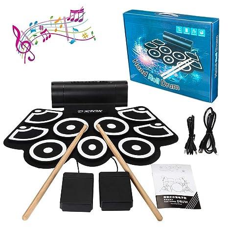 Bateria Electronica Niños Drum Kit , lujoso juego de batería, 9 almohadillas eléctricas portátiles,
