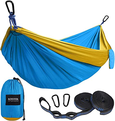 G4Free Double Camping Hammock 2 Person – Lightweight Portable Parachute Nylon 210T Camping Hammocks for Backpacking,Backyard, 660lbs 118 x 75 -with Carabiners Hammock Straps