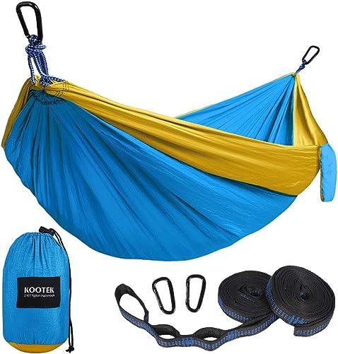 Kootek Camping Hammock Double Single Portable Hammocks with 2 Tree Straps, Lightweight Nylon Parachute Hammocks for Backpacking, Travel, Beach, Backyard, Patio, Hiking