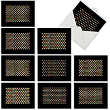 M6561OCB Seeing Spots: 10 Assorted Blank All-Occasion Note Cards Featuring Candy Colored Small Geometric Patterns that Pop Out of a Black Background, w/White Envelopes.