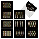 M6561TYG Seeing Spots: 10 Assorted Thank You Note Cards Featuring Candy Colored Small Geometric Patterns that Pop Out of a Black Background, w/White Envelopes.