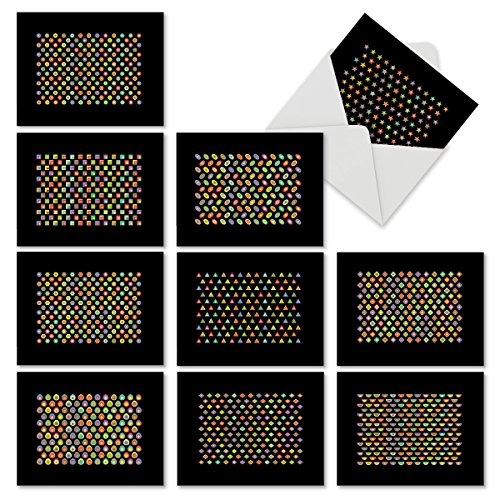M6561OCB Seeing Spots: 10 Assorted Blank All-Occasion Note Cards Featuring  Candy Colored Small Geometric Patterns that Pop Out of a Black Background,