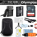 32GB Accessories Kit For Olympus TOUGH TG-5, TG-2 iHS TG-3 TG-4 Waterproof Camera Includes Replacement LI-90B, LI-92B Battery + Charger + 32GB High Speed SD Memory Card + Micro HDMI Cable + Case +