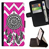 Graphic4You Dreamcatcher Chevron Pattern (Hot Pink) Thin Wallet Card Holder Leather Case Cover for Honor 6X