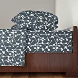 Roostery Arrow 4pc Sheet Set Arrows Scattered//Dark Blue Gray Blue Boy Nursery Design by Andrea Lauren Queen Sheet Set made with