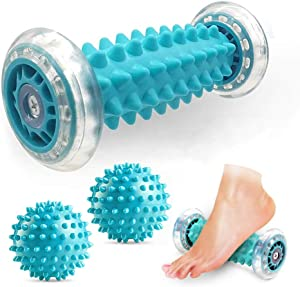 JAZZAIR Foot Massage Roller and Spiky Massage Ball Set for Plantar Fasciitis Relief, Heel Foot Arch Pain, Trigger Point Therapy, Muscle Recovery, Stress Relief (1 Foot Massage Roller +2 Spiky Balls)