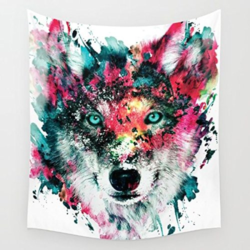Multicolor Wolf Staring at The Front  Wall Hanging