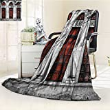 YOYI-HOME Lightweight Summer Duplex Printed Blanket,Old Abandon Historical Building with Arched Large Window
