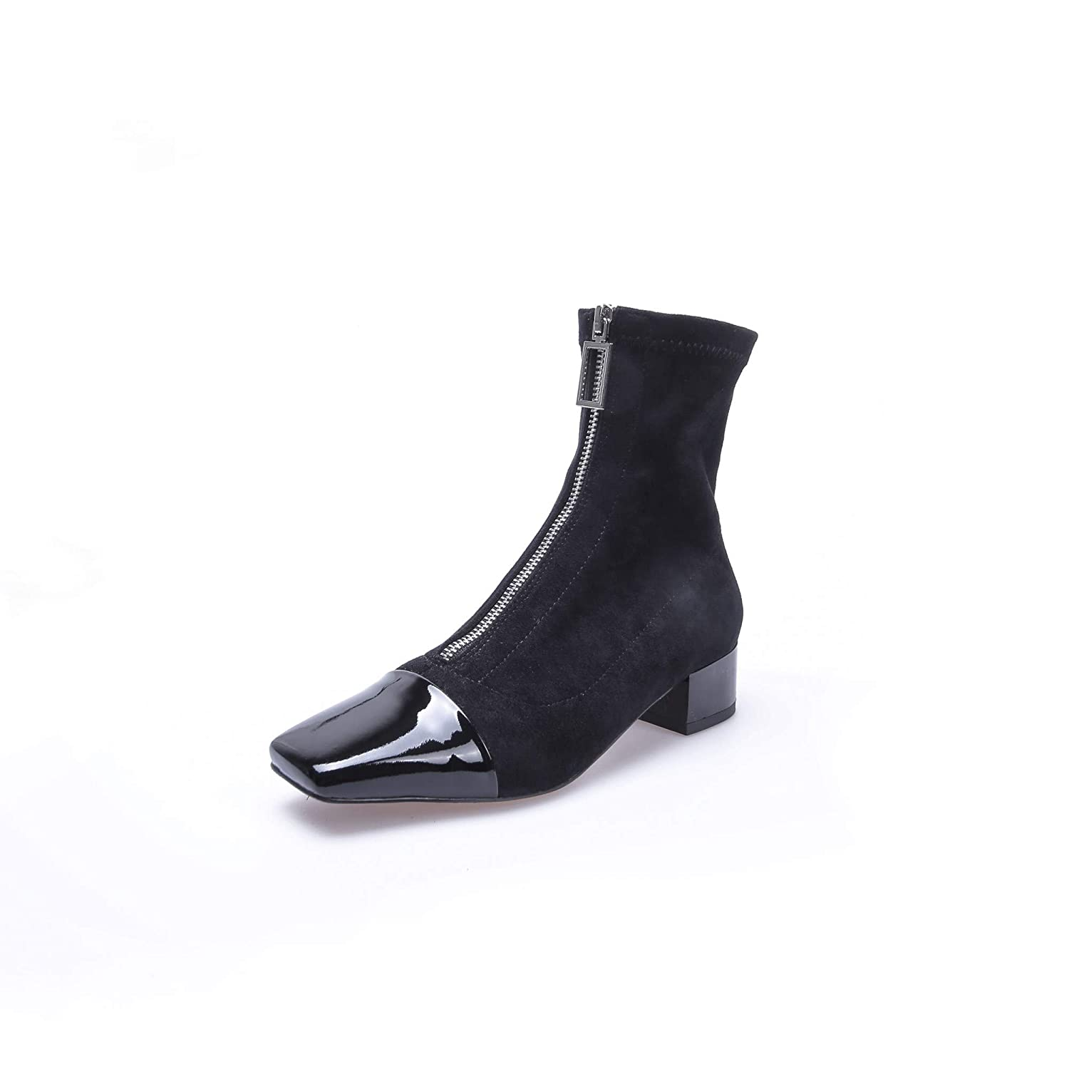 Nine Seven Womens Suede Leather Square Toe Low Chunky Heel Handmade Fashion Front Zipper Two Tone Ankle Boots