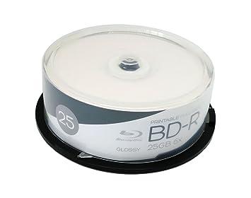 25 BD-R 25 GB Glossy Blu-ray vírgenes imprimibles Wide ...