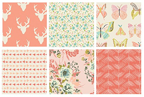 6 FABRIC BUNDLE - Hello Bear, Winged, Forest Floor, Joie de Vivre - Art Gallery Fabrics - Bonnie Christine - Bari J. - Deer Silo Antlers Peach Coral (Fat quarters) (Antler Bar)