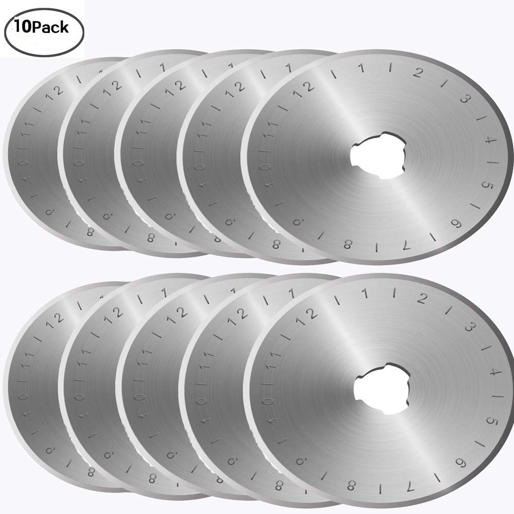 45mm Rotary Cutter Blades Set of 10, Fits All Rotary Cutter for Sewing Arts Crafts. (Sharp and Durable) LiPang