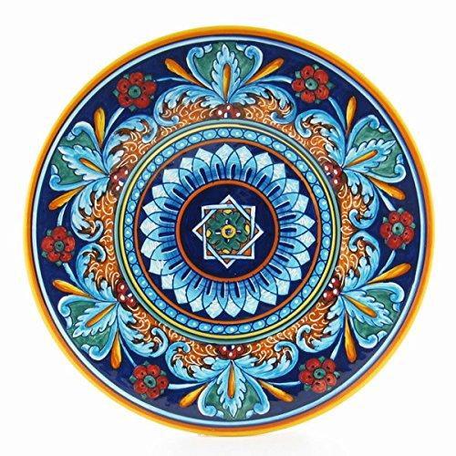 Hand Painted Italian Ceramic 11.8-inch Geometric Wall Plate - Handmade in Deruta