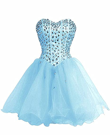 FAIRY COUPLE Strapless Prom Dress Formal Evening Gown Short D0147(UK12, Baby Blue)