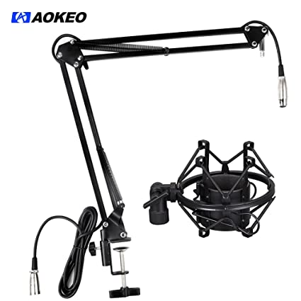 """amazon aokeo ak 35 microphone suspension boom scissor arm stand RCA 55"""" TV amazon aokeo ak 35 microphone suspension boom scissor arm stand with mic clip holder table mounting cl and anti vibrating shock mount musical"""