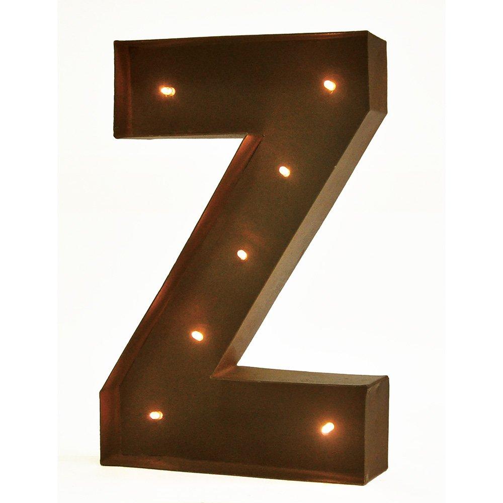 Letter Z Rustic Vintage 11 Decorative LED Light Glow Letters