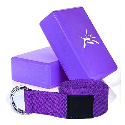 Pack de 2 bloques de Yoga Pilates espuma y 1 pc de cinturón de Yoga con D anillo para estirar