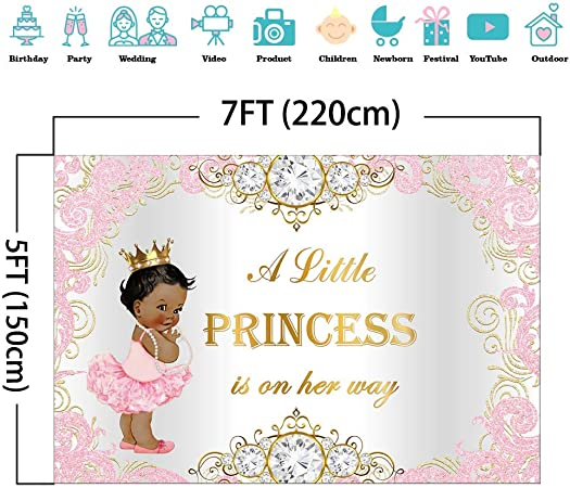 15x10ft Vinyl Royal Princess Girl Baby Shower Party Backdrop Pink Bright Aperture Angel Silvery Wing Little Princess Party Decorations Girl Photography Background Party Banner Studio Props