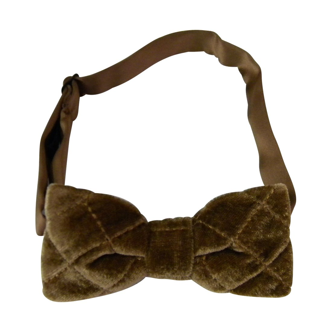 Boy's Quilted Velvet Bowtie - Bow Tie with Adjustable Band DaCee Designs Accessories agbt-quilted-camel-SF
