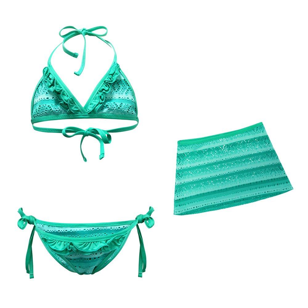 BALNEAIRE Little Big Girls Bikini Swimsuit 3 Pieces Kids Bathing Suit Set Green Ltd