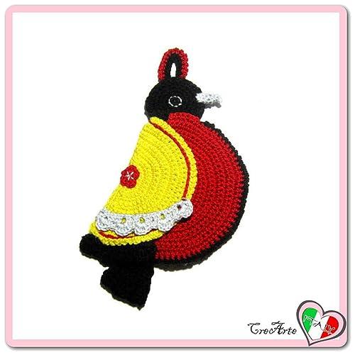 Presina Gialla E Rossa A Forma Di Uccello Alluncinetto Dimensioni