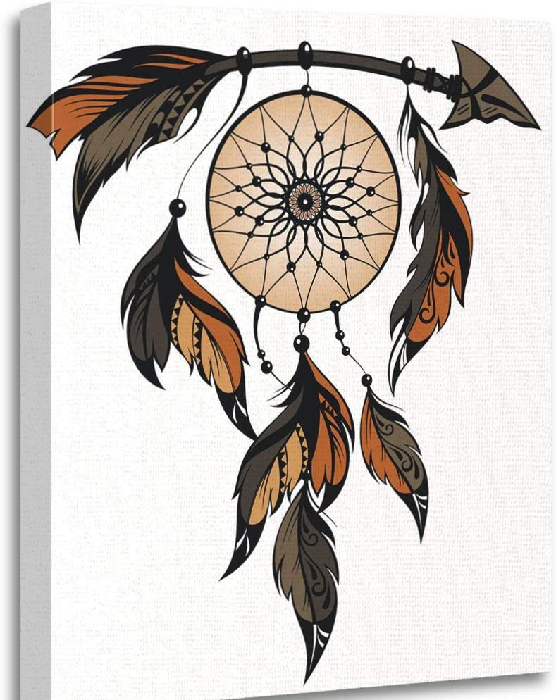Altuny Canvas Print Wall Art Painting Pictures Dream Catcher American Ancient Apache Arrow Cherokee 12x16 Inch Artwork Modern Decor for Living Room Bedroom Bathroom Great Gift