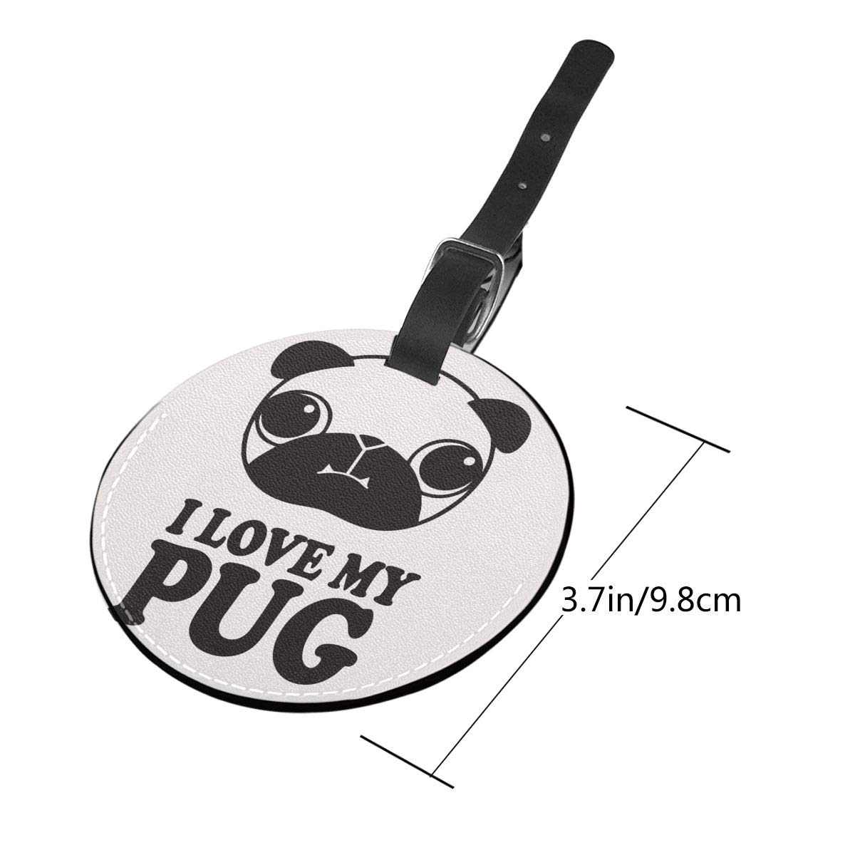 Jinsshop 4 PCS Leather Luggage Tag With Name ID Card Perfect To Quickly Spot Luggage Suitcase I Love My Pug