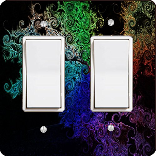 Rikki Knight 9125 Double Rocker Rainbow Curls On Black Design Light Switch Plate by Rikki Knight