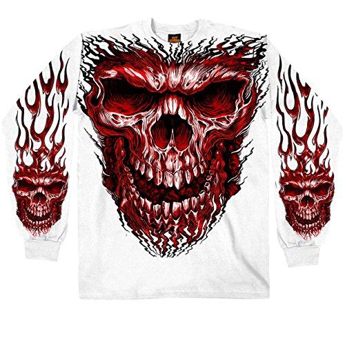 Hot Leathers Men's Shredder Skull Long Sleeve Shirt (White, X-Large)