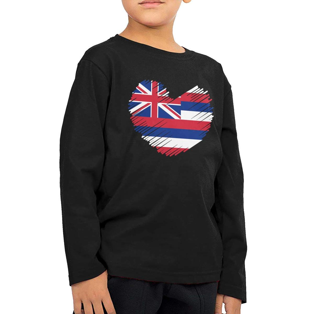 Childrens Hawaii State Flag in Heart Shape ComfortSoft Long Sleeve Tee