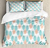 Ambesonne Hawaii Duvet Cover Set Queen Size, Exotic Leaves Tropic Foliage Vintage Nature Silhouettes Abstract Spring Season, Decorative 3 Piece Bedding Set with 2 Pillow Shams, Salmon Pale Blue