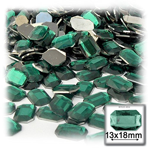 The Crafts Outlet 1000-Piece Acrylic Aluminum Foil Flat Back Octagon Rectangle Rhinestones, 13 by 18mm, Emerald Green