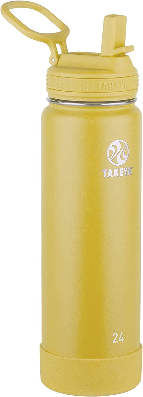 Takeya Actives Insulated Water Bottle w/Straw Lid, Canary, 24 Ounces