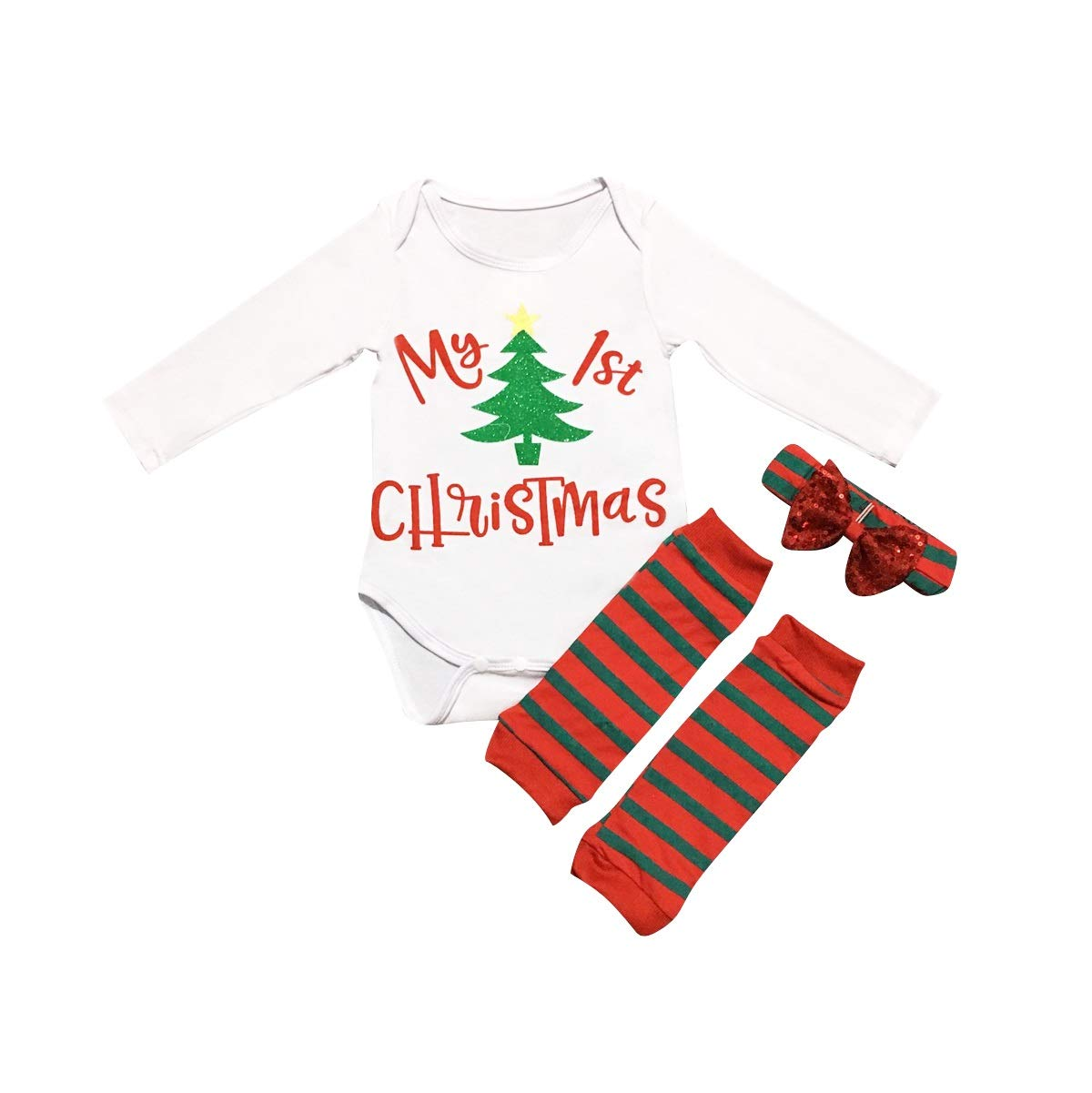 Newborn Baby My 1st Christmas Romper+Leg Warmers+Headband Kid Boy Girl Outfits 3pcs/Set (Color : 90) Tabpole