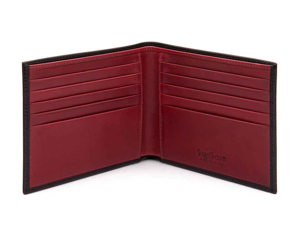 SAGEBROWN Black With Red Men's Classic Billfold Wallet