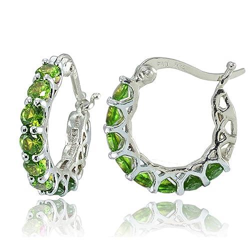 Sterling Silver Genuine, Created or Simulated Gemstone Small Round Huggie Hoop Earrings