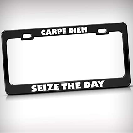 Carpe Diem Seize The Day Metal Military License Plate Frame Tag Holder