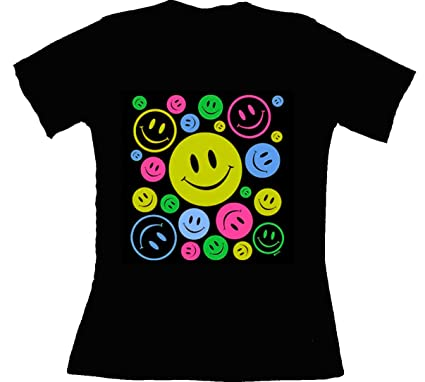 Patoutatis Femme Happy Shirt Smiley T Néon Fluo Faces PZOikXuT