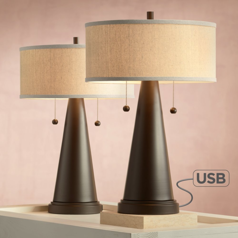 Craig Mid Century Modern Accent Table Lamps Set Of 2 With