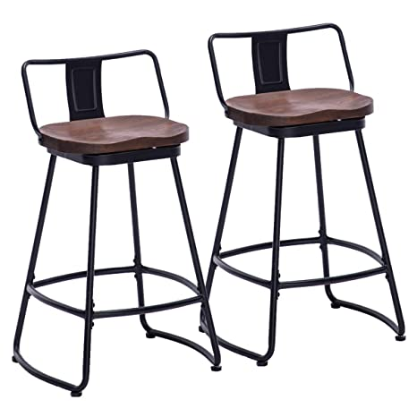 Phenomenal Amazon Com Andeworld 24 Swivel Industrial Metal Bar Stools Gamerscity Chair Design For Home Gamerscityorg