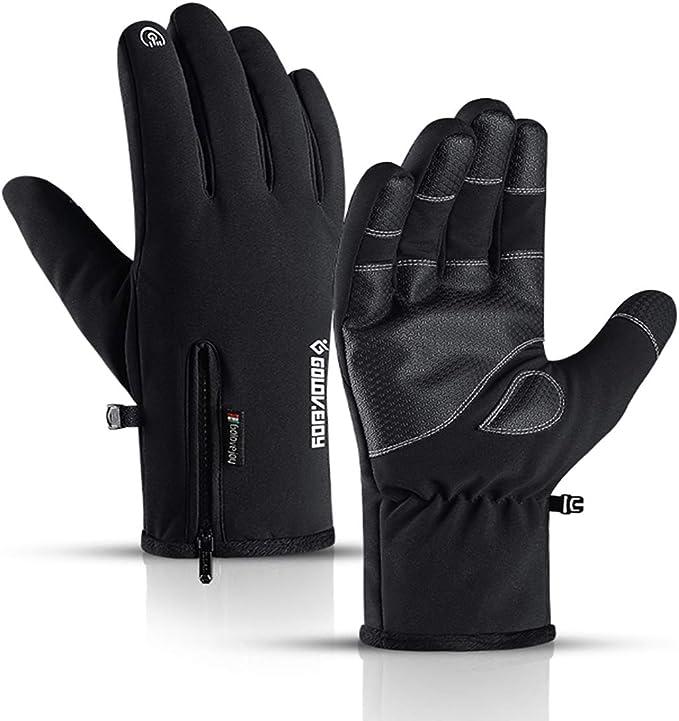 Winter Handschuhe Leder Damen Herren Touch Screen Warm Fahrradhandschuhe XXL