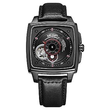 Megir Relojes para Hombre Automático De Primera Marca Hombres De Lujo Relojes Fecha Mes Flying Tourbillon Reloj Mecánico 62042,Black: Amazon.es: Deportes y ...